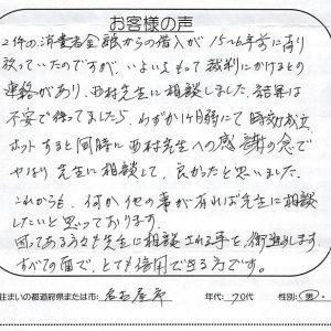 いよいよもって裁判にかけるとの連絡があり相談しました【名古屋市 70代 男性】